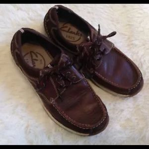 Clark's Brown Leather Lace Up Loafer Sneakers